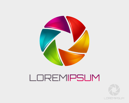 Photo logo template. Colorful diaphragm icon. Vector illustration. Çizim