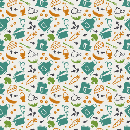 Food and kitchen seamless pattern in blue, orange, green and white colors. Retro background with cute icons for culinary theme. Vector illustration.  イラスト・ベクター素材