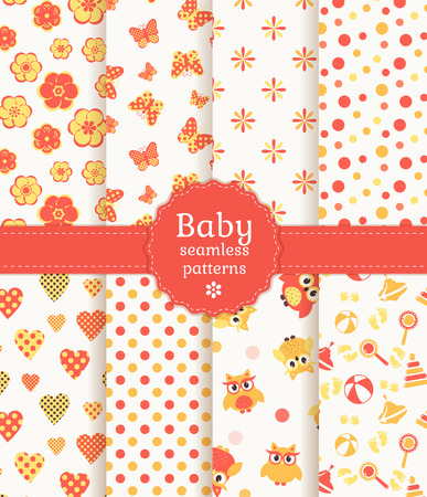 cute baby girls: Collection of baby seamless patterns in pastel colors. Vector illustration.