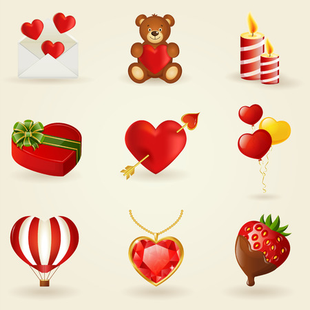 Set of love and romantic icons. Collection of design elements. Vector illustration.