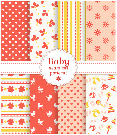 fabric pattern: Collection of baby seamless patterns in white, pink and yellow colors. Vector illustration.