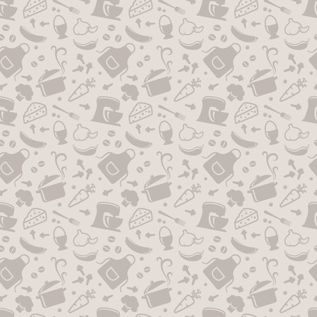 utencilios de cocina: Alimentos y patrón transparente de cocina. Fondo gris con iconos de la silueta de tema culinario. Ilustración del vector. Vectores