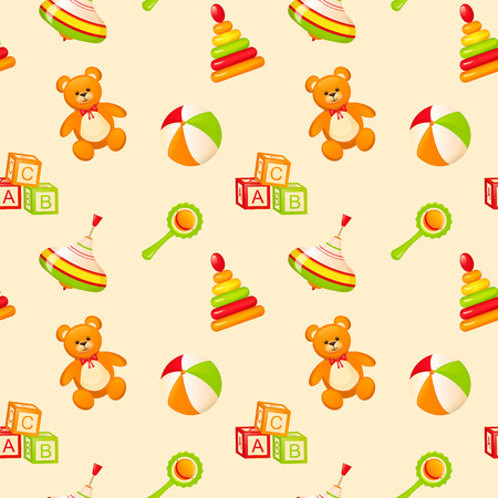 beanbag: Seamless pattern with childrens toys. Vector illustration.