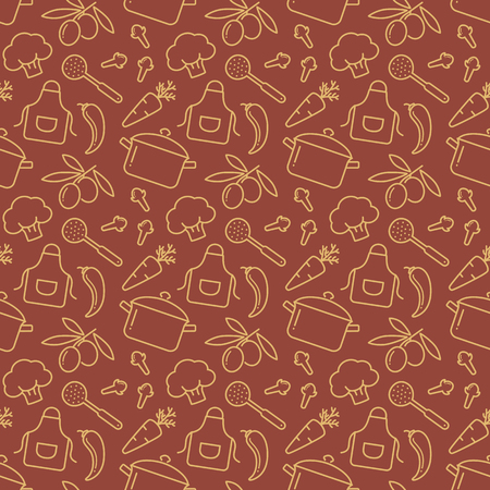 Food and kitchen seamless pattern. Brown background with line icons for culinary theme. Vector illustration.