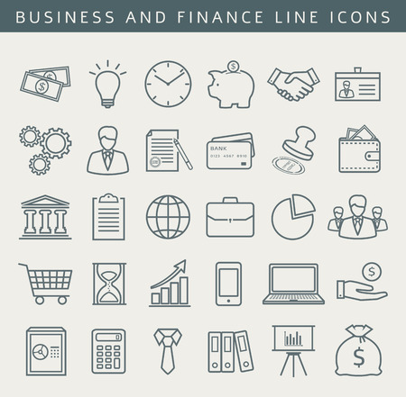 Business, finance, office, shopping and marketing icons. Set of 30 concept symbols. Collection of outline elements for your design. Vector illustration. Ilustração