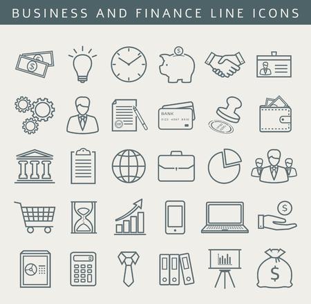 Negocios, finanzas, oficinas, centros comerciales y de marketing iconos. Conjunto de 30 símbolos conceptuales. Colección de elementos de contorno para su diseño. Ilustración del vector.