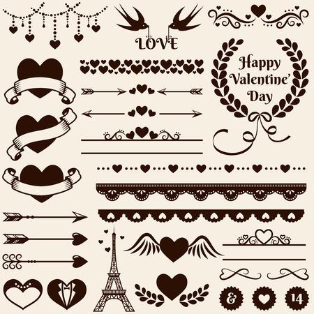 El amor, el romance y la decoración de la boda fijados. Colección de elementos para las tarjetas de San Valentín de felicitación, invitaciones de boda, la página web y la decoración o cualquier otro diseño romántico. Ilustración del vector.