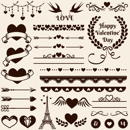 Love, romance and wedding decorations set. Collection of elements for valentine's greeting cards, wedding invitations, page and website decor or any other romantic design. Vector illustration.