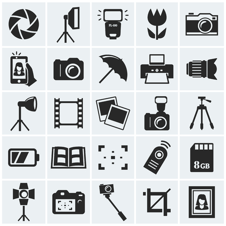 spotlight: Photo icons. Vector set.