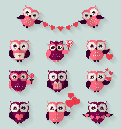 valentines card: Happy Valentines Day! Set of cute flat owls for love and romantic design. Vector icons with long shadow.