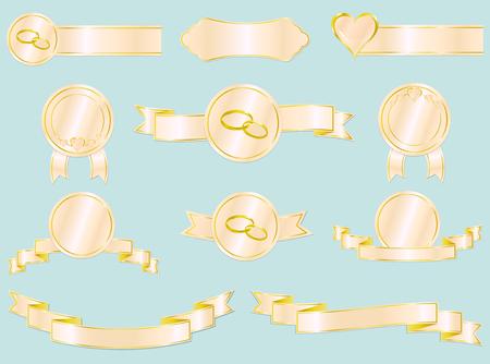 Set di nozze e nastri di amore, badge e etichette. Illustrazione vettoriale. Ogni elemento di design è su un livello separato.