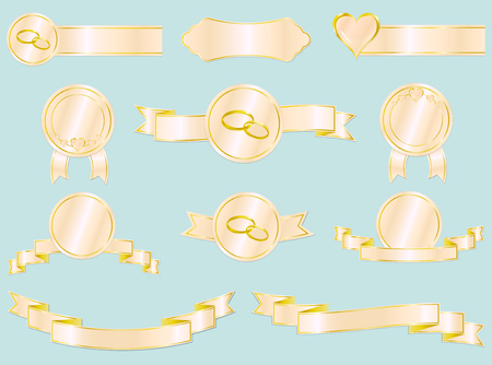 Set of wedding and love ribbons, badges and labels. Vector illustration. Each design element is on a separate layer. Illustration