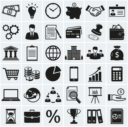 Business, finance and marketing icons. Set of 36 concept symbols. Collection of silhouette black elements for your design. Vector illustration. Çizim