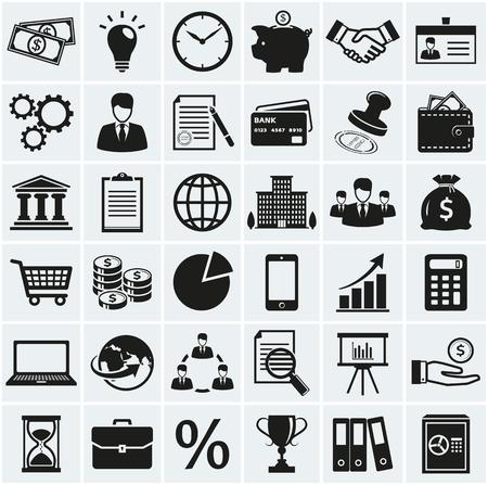 economia: Negocios, finanzas y marketing iconos. Conjunto de 36 símbolos conceptuales. Colección de elementos de la silueta del negro para su diseño. Ilustración del vector. Vectores