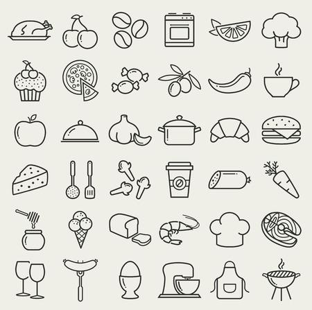음식과 요리 웹 아이콘입니다. 요리 테마 블랙 기호. 건강하고 정크 음식, 과일, 야채, 해산물, 향신료, 조리기구 등이 있습니다. 라인 디자인 요소의 컬