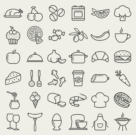 Food and cooking web icons. Set of black symbols for a culinary theme. Healthy and junk food, fruit and vegetables, seafood, spices, cooking utensils and more. Collection of line design elements. Ilustracja