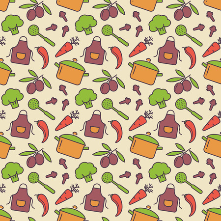 houseware: Food and kitchen seamless pattern. Cute background with colorful icons for culinary theme. Vector illustration.