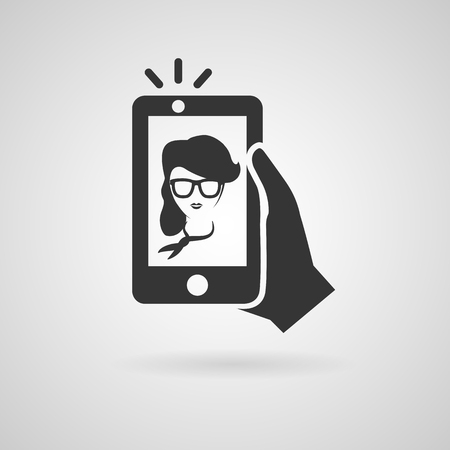 smart phone hand: Selfie icon. Trendy woman taking a self portrait on smart phone. Vector illustration.