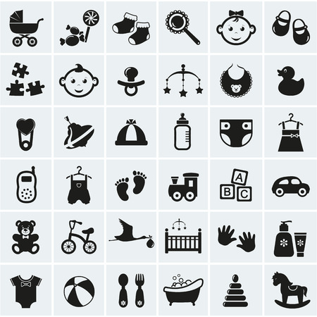 pacifier: Colección de 25 iconos de bebé. Ilustración del vector.