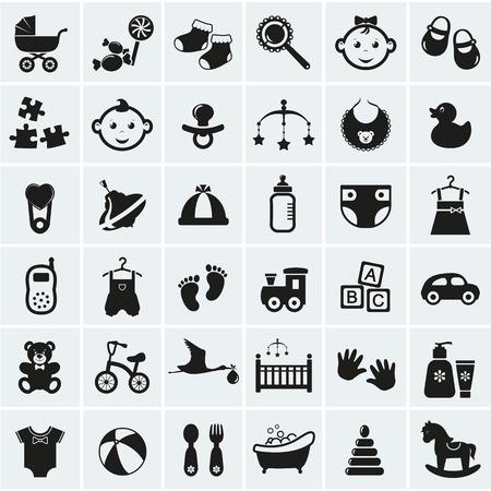 cicogna: Collezione di 25 icone del bambino. Illustrazione vettoriale.