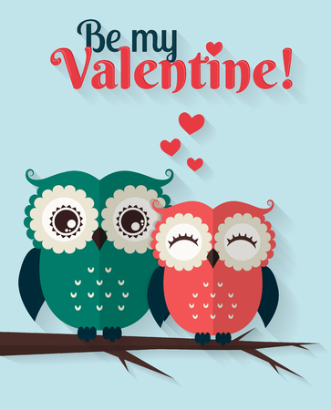 sweet couple: Be My Valentine! Valentines Day card with cute flat owls. Vector illustration.