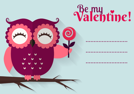 holidays for couples: Be My Valentine! Valentines Day card with cute flat owl and space for your text. Vector illustration.
