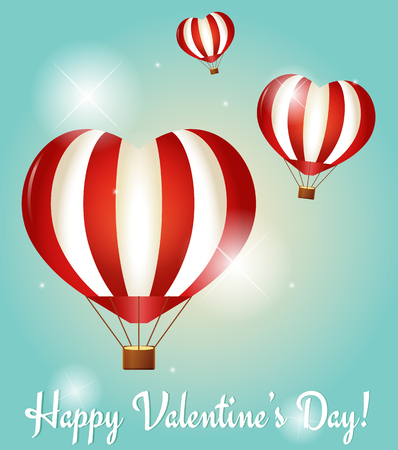 Valentines Day greeting cards with three heart shaped hot air balloons. Vector illustration.