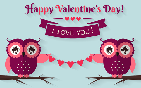 february 14th: Happy Valentines Day! I love you! Valentines Day card with cute flat owls. Vector illustration.