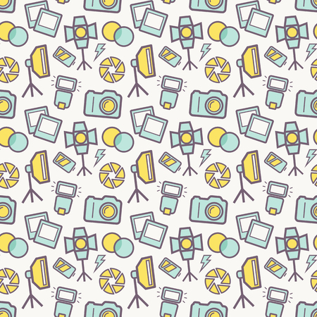 photography background: Seamless pattern with photo equipment and symbols. Background with nice icons for photographic theme. Vector illustration.