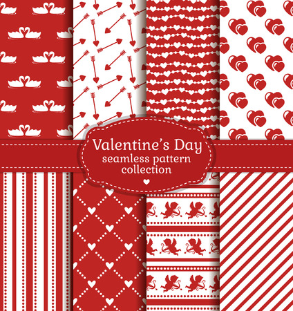 red paper: Happy Valentines Day! Set of love and romantic backgrounds. Collection of seamless patterns with white and red colors. Vector illustration.