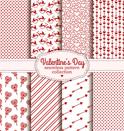 collection red: Happy Valentines Day! Set of love and romantic backgrounds. Collection of seamless patterns with white and red colors. Vector illustration.