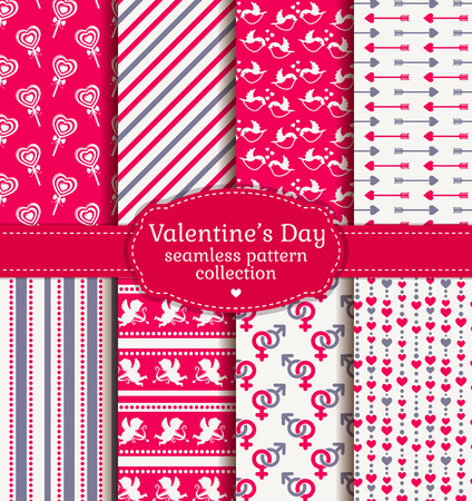 sex symbol: Happy Valentines Day! Set of love and romantic backgrounds. Collection of  seamless patterns with pink, white and gray colors. Vector illustration.