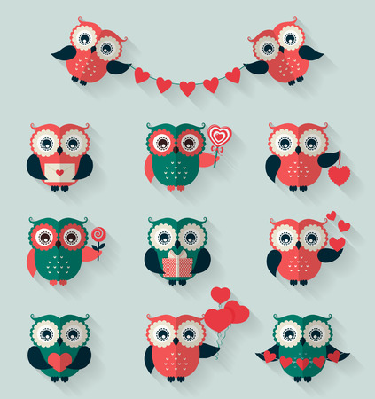 Happy Valentines Day! Set of retro flat owls for love, wedding or romantic design. Vector icons isolated on blue background.