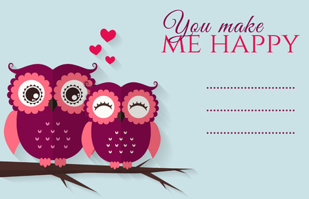 cute love: You make me happy. Romantic card with cute flat owls and place for your text. Vector illustration.
