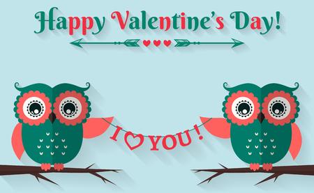 幸せなバレンタインデー!愛しています!かわいいフラット フクロウとバレンタイン カード。ベクトルの図。