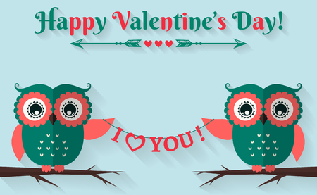 Happy Valentines Day! I love you! Valentines Day card with cute flat owls. Vector illustration.