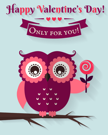 Happy Valentine's Day! Only for you! Valentine's Day card with cute flat owl. Vector illustration.
