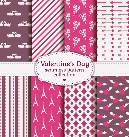 seamless paper: Happy Valentines Day! Set of love and romantic backgrounds. Collection of seamless patterns with purple, pink and white colors. Vector illustration.