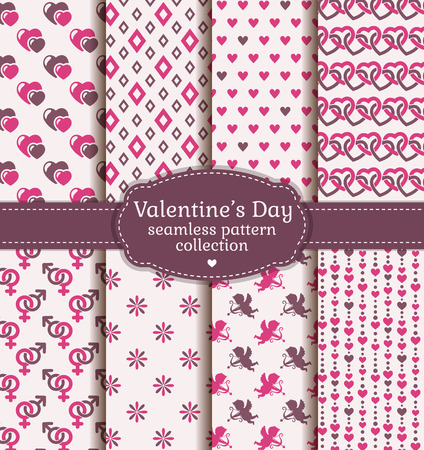 romantic sex: Happy Valentines Day! Set of love and romantic backgrounds. Collection of seamless patterns with pink, white and purple colors. Vector illustration.