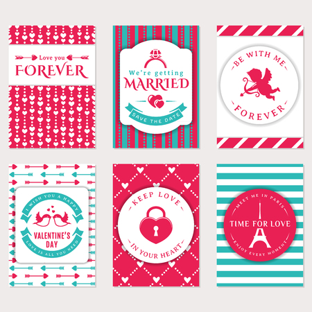 Collection of cute vector banners. Romantic flyers, Valentines Day greeting card, wedding invitation. Love and romantic themes. Templates in white, pink and blue colors.