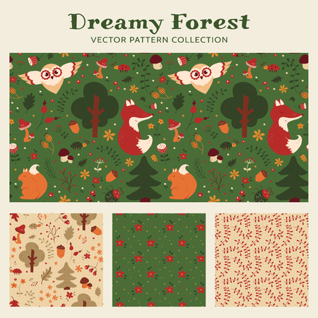 retro cartoon: Baby seamless patterns with hand drawn forest animals, flowers and plants. Set of cute childrens textiles in green, orange, beige, red and white colors. Vector collection.