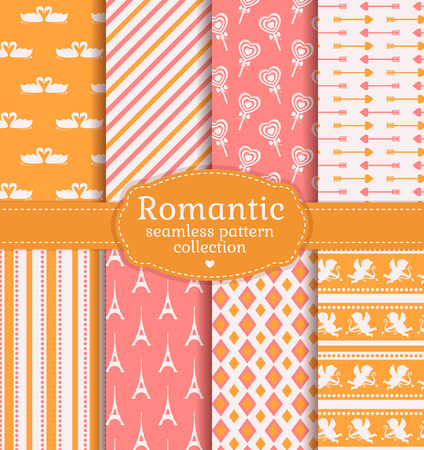Love and romantic backgrounds. Collection of  seamless patterns with pink, white and yellow colors. Vector set.
