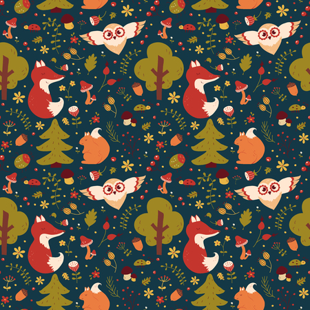Forest seamless pattern with hand drawn animals, flowers and plants. Cute nature textile in blue, green, red, orange and white colors. Vector background for baby design. Ilustração