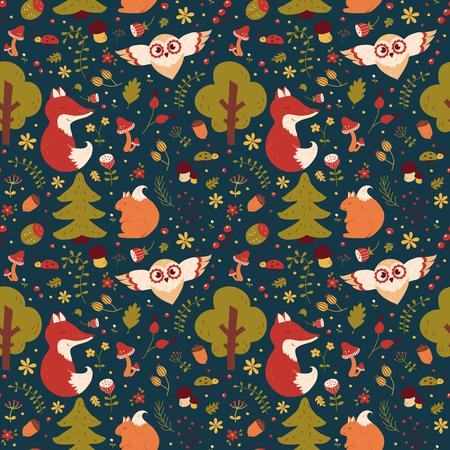 Modelo inconsútil del bosque con animales dibujados a mano, flores y plantas. textil naturaleza linda en colores azul, verde, rojo, naranja y blanco. Fondo del vector para el diseño del bebé. Ilustración de vector