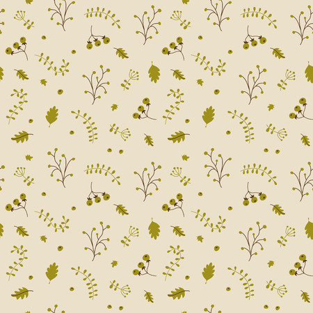 twigs: Floral seamless pattern with hand drawn plants. Nature background with berries, leaves and twigs. Vector illustration.