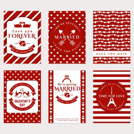 romantico: Colección de carteles lindos del vector. volantes románticos, tarjetas de felicitación de San Valentín, invitación de boda. Amor y temas románticos. Plantillas en colores rojo y blanco.