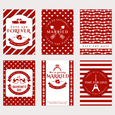 postcard romantic: Collection of cute vector banners. Romantic flyers, Valentines Day greeting card, wedding invitation. Love and romantic themes. Templates in red and white colors.