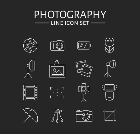 Photo icons. Set of 16 symbols for a photographic theme. Vector collection of outline elements isolated on black background.
