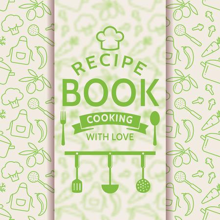 レシピ本です。愛を込めて調理します。アウトライン料理記号と文字体裁バッジ レシピ カード。緑と白の色のベクトルの背景。  イラスト・ベクター素材