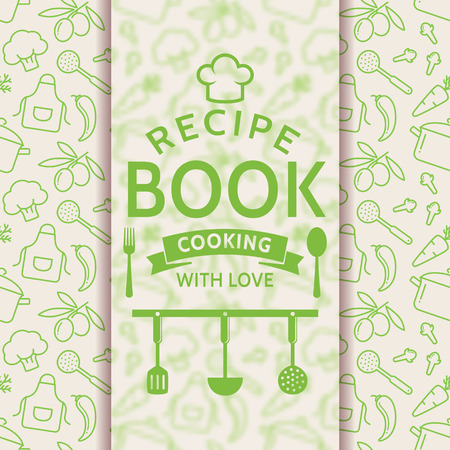 recipe card: Recipe book. Cooking with love. Recipe card with outline culinary symbols and typographic badge. Vector background in green and white colors.
